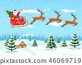 Christmas santa claus rides reindeer sleigh. 46069719