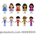 Cartoon people of different nationalities, vector. 46069945