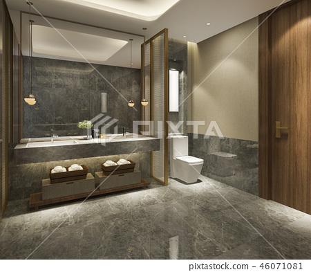 modern bathroom with luxury tile decor  46071081