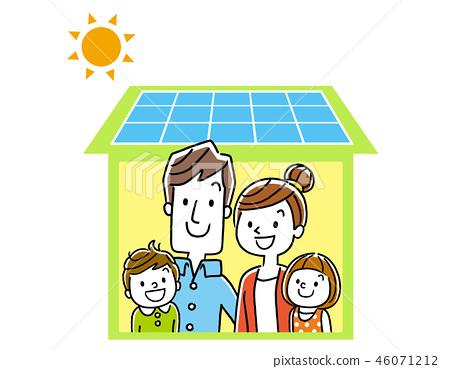 太陽能電池板房子和家庭 46071212