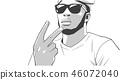 Illustration of young black gang member 46072040