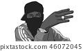 Illustration of young black gang member 46072045