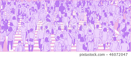 Illustration of large Tokyo city crowd walking 46072047