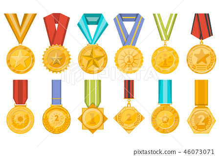 Golden medals collection with ribbons set - Stock Illustration
