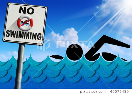 No Swimming - Signboard with Sea Waves 46073459