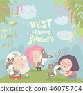 Funny cartoon girls with cute deer.Best friends 46075704