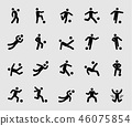 Silhouette icons set for Soccer player motion 46075854
