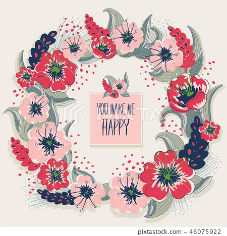 Vector illustration of a floral wreath 46075922