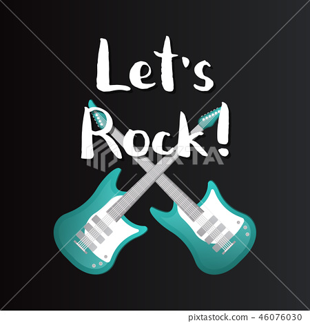 Let's rock poster with crossed bass guitars 46076030