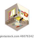 interior of children bedroom with window 46076342