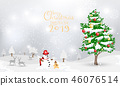 Snowman and Christmas tree with calligraphy 46076514