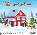 house in snowy Christmas landscape 46076604