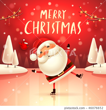 Merry Christmas! Santa Claus in the snow scene. 46076652