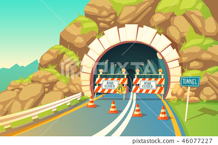 background with roadwork in tunnel, highway 46077227
