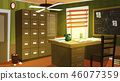 Private detective office interior cartoon vector 46077359