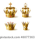 Golden royal crowns 3d realistic vector set 46077363