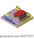 City railway station building isometric vector 46077377