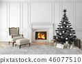 Black christmas tree in classic interior with fireplace, lounge armchair, carpet, gifts. 46077510