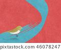 Japanese modern background material Uguisu bird 46078247
