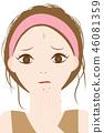 女性患有痤瘡 46081359