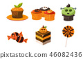 Collection of colorful halloween sweets, candies, cupcakes, holiday sweet treats vector Illustration 46082436