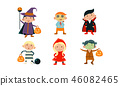 Children in colorful Halloween costumes set, kids at carnival party vector Illustration on a white 46082465