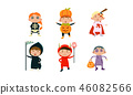Kids in Halloween costumes set, cute children at carnival clothes vector Illustration on a white 46082566