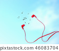 Earphones and music note symbol. 46083704
