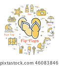 Colorful icons in summer holidays - flip-flops 46083846