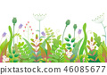 Spring Floral Seamless Border with Green Plants 46085677