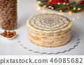classic esterhazy cake on white table, horizontal view from above 46085682