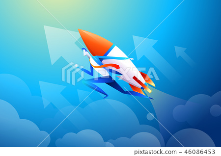 Businessman flying on rocket, graph that shows increase in sales, vector illustration in flat design 46086453