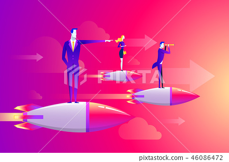 Businessmen team standing on rocket ship flying through on sky. Start up business concept. Vector 46086472