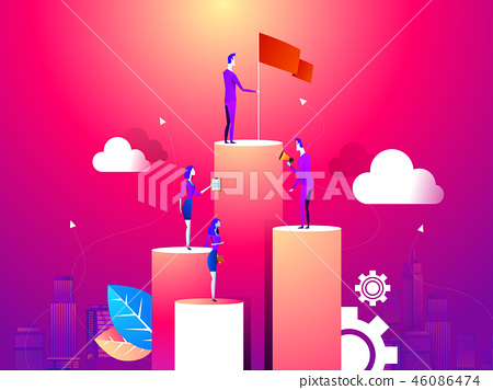 businessman point to flag at peak of mountain and man run to goal.mean flag is success and goal 46086474