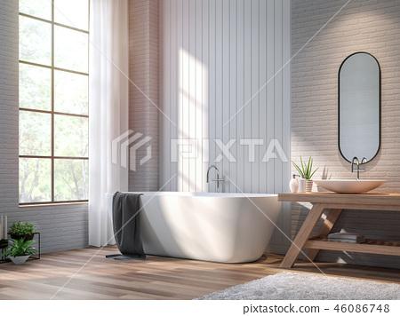 Vintage bathroom 3d render 46086748
