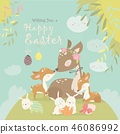 Cartoon Deer family with cute bunnies. Happy animals for Easter. 46086992
