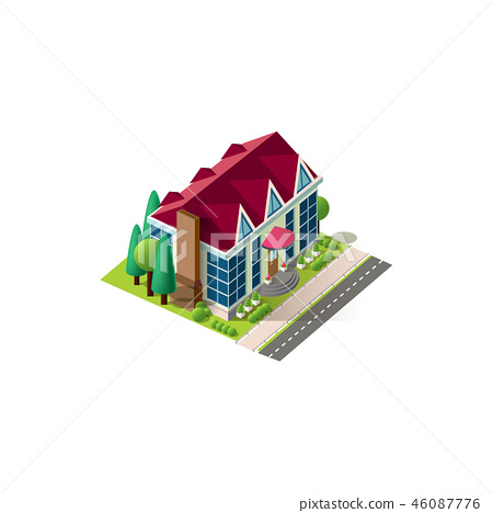 Isometric facade cottage near road 46087776