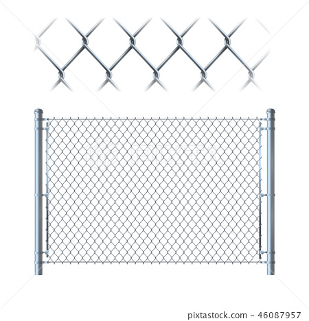 Realistic metal chain link fence. metal mesh on isolated on whit 46087957
