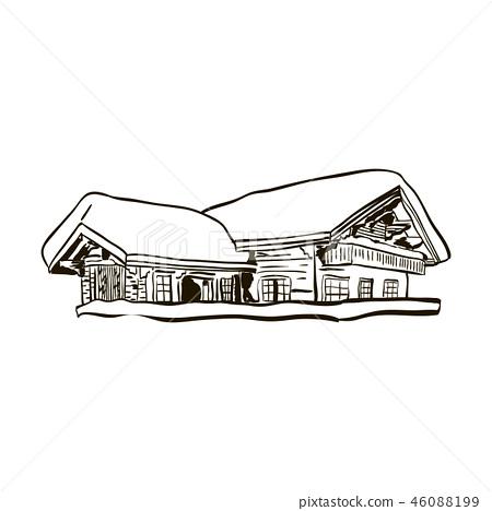 alpine house sketch vector 46088199