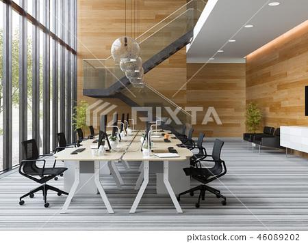 Interior modern open space office 3D illustration 46089202