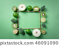 Frame with green fruits and vegetables.  46091090