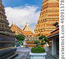 Vintage fresco of Wat Pho, Bangkok, Thailand 46091378