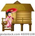 Japanese girl at the bamboo hut 46099108