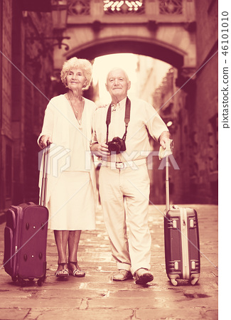 Mature travelers strolling with luggage 46101010