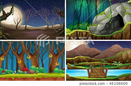 Set of nature landscape at night 46106600