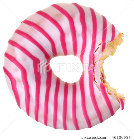 Bitten strawberry donut with pink icing top view 46106957