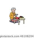 做編織的祖母,當看智能手機時 46108204