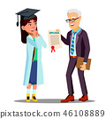 Asian Young Girl Student Doctor Receiving A Diploma Vector. Isolated Cartoon Illustration 46108889