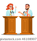 Two Doctor Argue Behind The Tribune With Microphone At Conference Vector. Isolated Cartoon 46108907