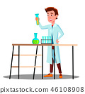 Laboratory Technician Guy Growing Medicinal Vector. Isolated Cartoon Illustration 46108908